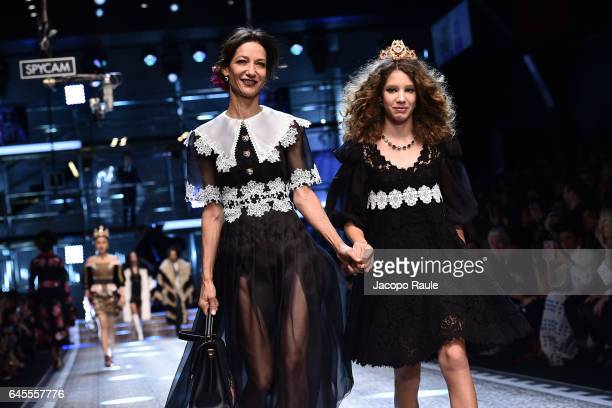 Marpessa Hennink and daughter Ariel walk the runway at the Dolce Gabbana show during Milan Fashion Week Fall/Winter 2017/18 on February 26 2017 in...