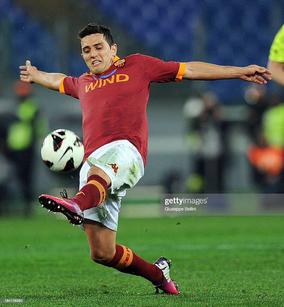 Marqinhos of Roma in action during the Serie A match between AS Roma and Parma FC at Stadio Olimpico on March 17, 2013 in Rome, Italy.