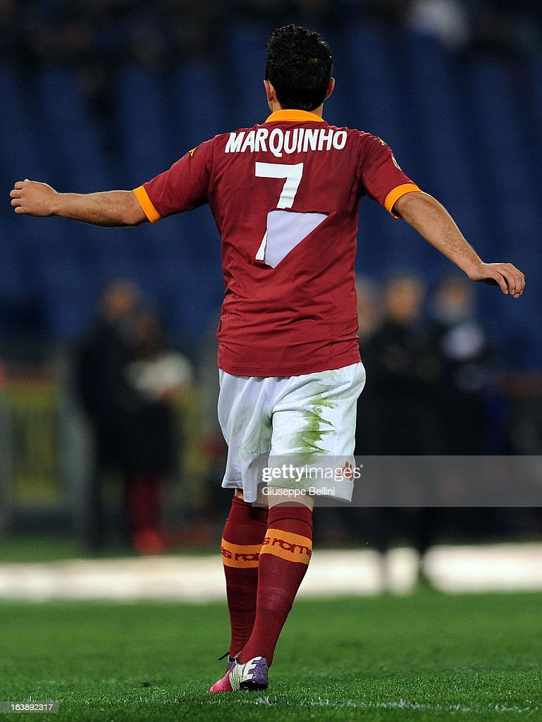 Marqinhos of Roma wears a torn shirt during the Serie A match between AS Roma and Parma FC at Stadio Olimpico on March 17, 2013 in Rome, Italy.