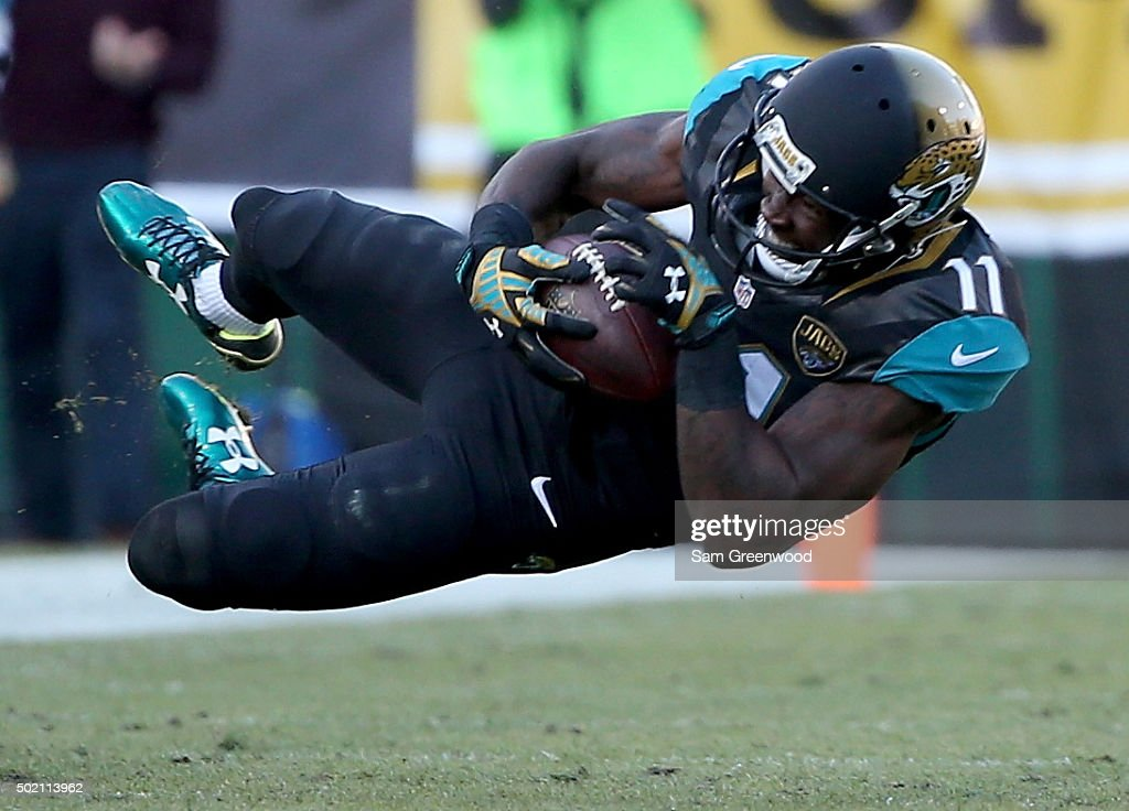 Marqise Lee of the Jacksonville Jaguars makes a reception during the game against the Atlanta Falcons at EverBank Field on December 20 2015 in...