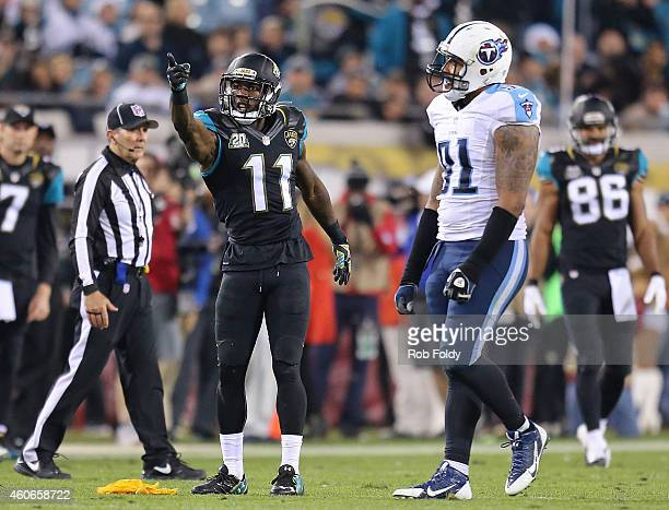 Marqise Lee of the Jacksonville Jaguars signals for a first down after a pentaly flag was thrown for pass interference during the second half of the...