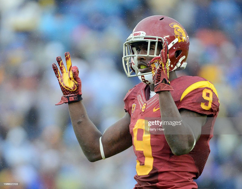 <a gi-track='captionPersonalityLinkClicked' href=/galleries/search?phrase=Marqise+Lee&family=editorial&specificpeople=8250840 ng-click='$event.stopPropagation()'>Marqise Lee</a> #9 of the USC Trojans reacts to the crowd during a 38-28 loss to the UCLA Bruins at Rose Bowl on November 17, 2012 in Pasadena, California.