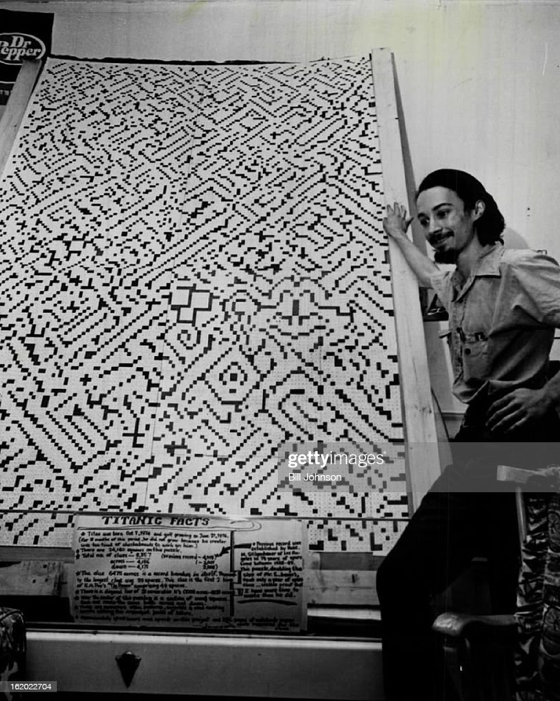 JUN 28 1976, JUL 18 1976; ***** A. Marquand Shows Off His 'Titan' Crossword Puzzle; The 'World's largest crossword puzzle' is 8 feet tall and 5 feet wide.;