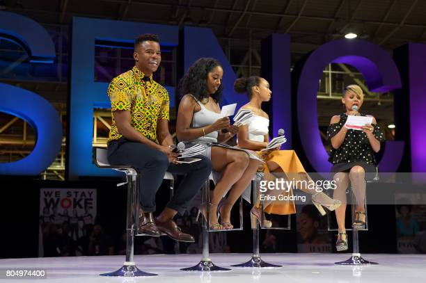 Marque Richardson Ashley Blaine Featherson and Logan Browningl of Dear White People speak onstage during Netflix At Essence Festival 2017 Day 1 on...