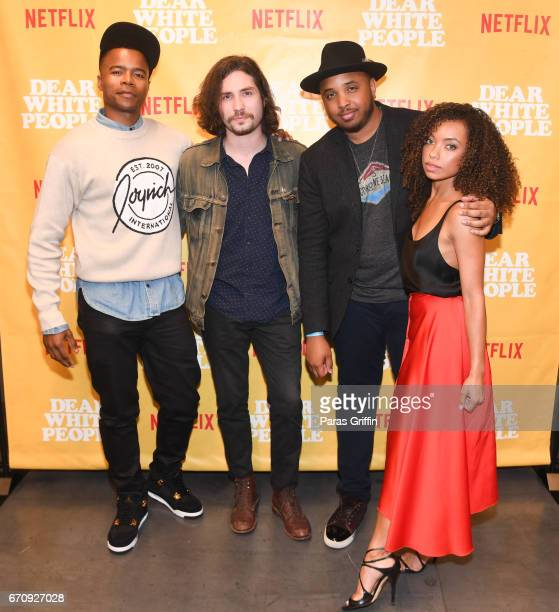Marque Richardson John Patrick Amedori ÊJustin Simien and Logan Browning attend Dear White People Atlanta screening at The Gathering Spot on April 20...
