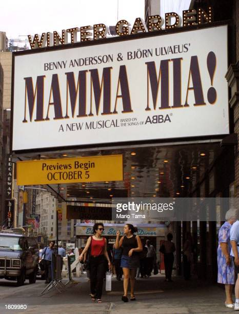 A marquee announces the upcoming fall musical 'Mamma Mia' based on the songs of Abba August 22 2001 at the Winter Garden Theatre in New York City