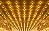golden bulbs marquee lights background