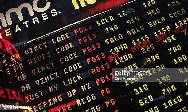 A marquee listing popular movies including 'The Da Vinci Code' shown with many shows already sold out is displayed May 19 2006 at the AMC Theaters on...