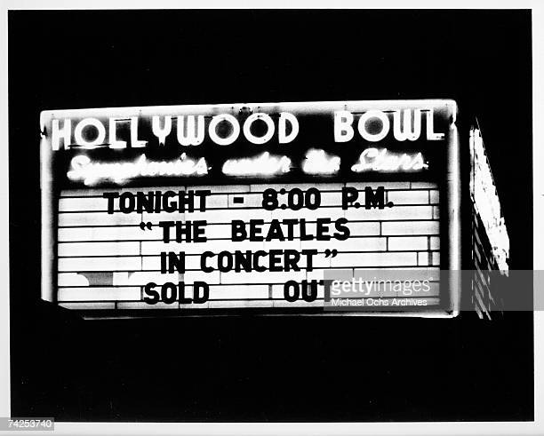 Marquee of the Hollywood Bowl when the rock and roll band 'The Beatles' performed there on August 23 1964 in Los Angeles California