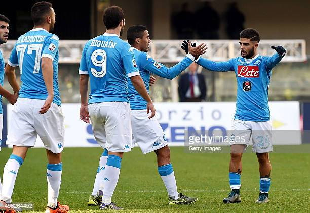 Marques Allan and Lorenzo Insigne of Napoli celebrate a goal 10 scored by Lorenzo Insigne during the Serie A match between Hellas Verona FC and SSC...