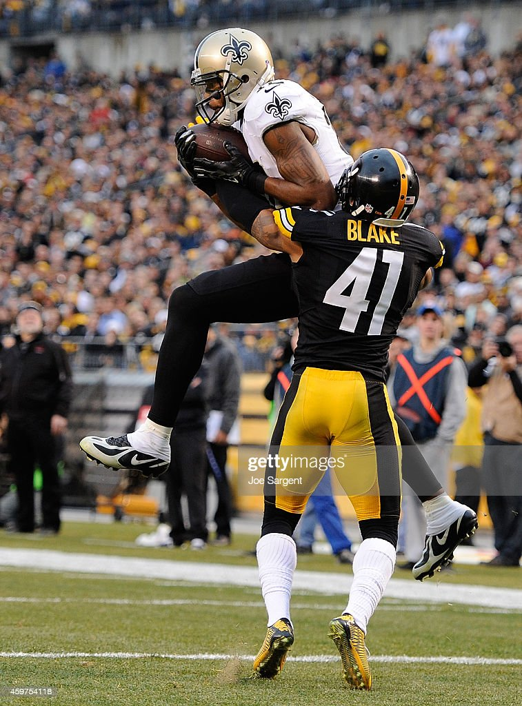 Marques Colston #12 of the New Orleans Saints makes a touchdown catch in front of Antwon Blake #41 of the Pittsburgh Steelers during the fourth quarter at Heinz Field on November 30, 2014 in Pittsburgh, Pennsylvania.
