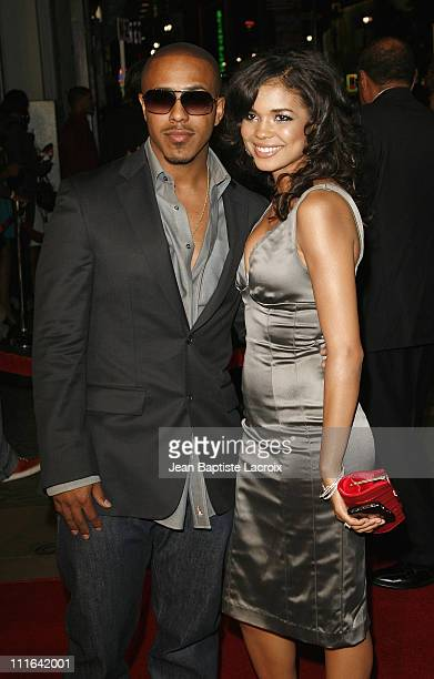 Marques Houston and actress Jennifer Freeman arrive at the premiere of 'Somebody Help Me' at the Grauman's Chinese Theatre on October 25 2007 in Los...