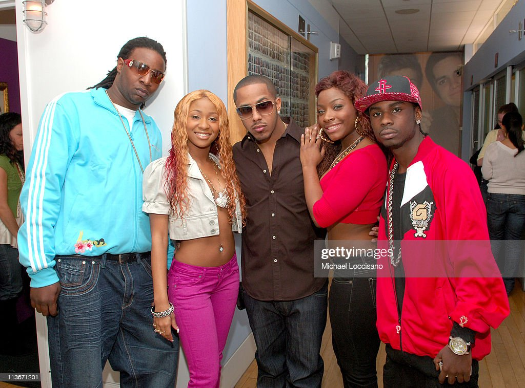 Marques Houston and Crime Mob during Marques Houston Visits MTV2's 'Sucker Free' Airing March 28 2007 at MTV Studios in New York City New York United...