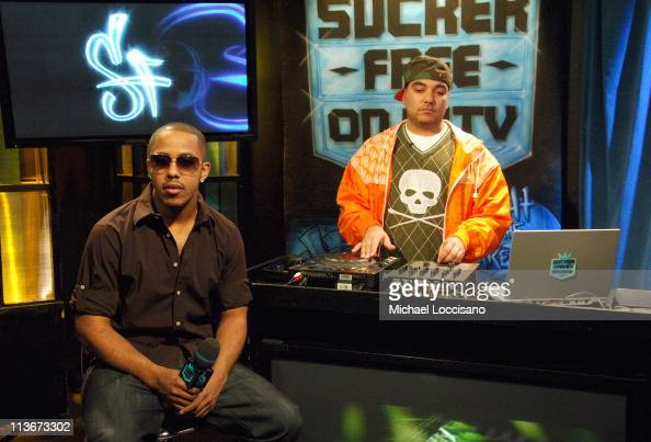 Marques Houston and DJ Cipha Sounds during Marques Houston Visits MTV2's 'Sucker Free' Airing March 28 2007 at MTV Studios in New York City New York...