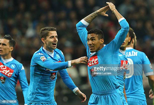 Marques Loureiro Allan of SSC Napoli celebrates with his teammate Jorge Luiz Frello Jorginho after scoring the opening goal during the Serie A match...