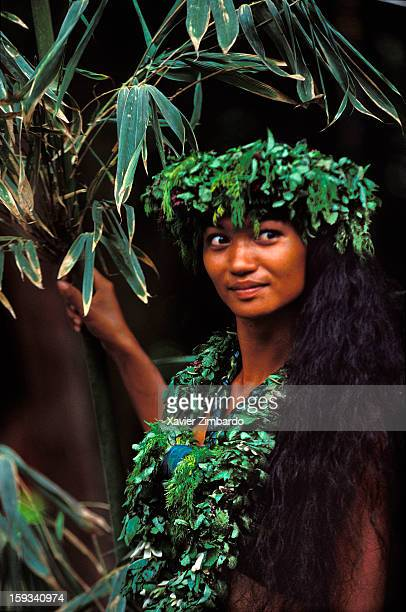 Marquesas dancer with traditional headdress on December 22 2012 in Marquesas Islands French Polynesia French Overseas Territory