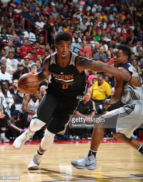 Marquese Chriss of the Phoenix Suns drives to the basket against the Dallas Mavericks during the 2017 Summer League on July 9 2017 at the Thomas Mack...