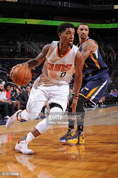 Marquese Chriss of the Phoenix Suns drives to the basket during a preseason game against the Utah Jazz on October 5 at Talking Stick Resort Arena in...