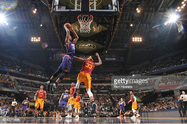 Marquese Chriss of the Phoenix Suns dunks against Indiana Pacers on November 18 2016 at Bankers Life Fieldhouse in Indianapolis Indiana NOTE TO USER...