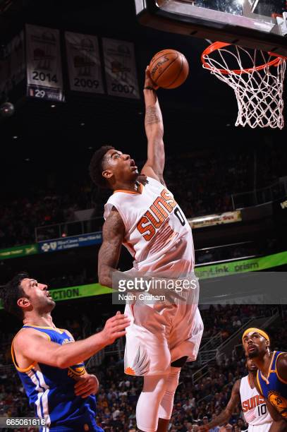 Marquese Chriss of the Phoenix Suns goes up for a dunk during a game against the Golden State Warriors on April 5 2017 at Talking Stick Resort Arena...