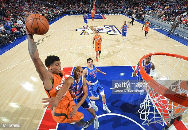 Marquese Chriss of the Phoenix Suns goes up for the dunk against the Philadelphia 76ers a game at the Wells Fargo Center on November 19 2016 in...