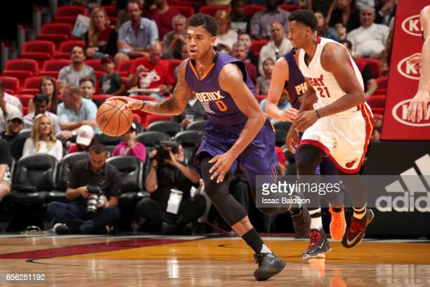 Marquese Chriss of the Phoenix Suns handles the ball against the Miami Heat on March 21 2017 at American Airlines Arena in Miami Florida NOTE TO USER...