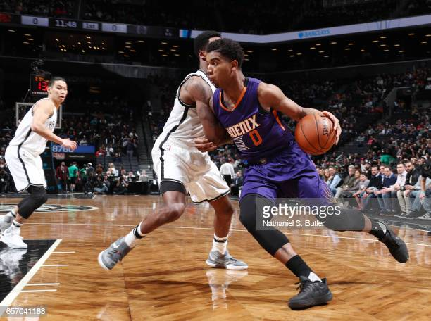 Marquese Chriss of the Phoenix Suns handles the ball against the Brooklyn Nets during the game on March 23 2017 at Barclays Center in Brooklyn New...