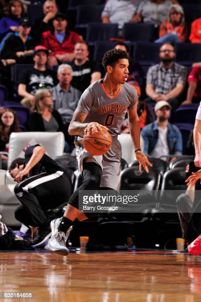 Marquese Chriss of the Phoenix Suns handles the ball during a game against the New Orleans Pelicans on February 13 2017 at Talking Stick Resort Arena...