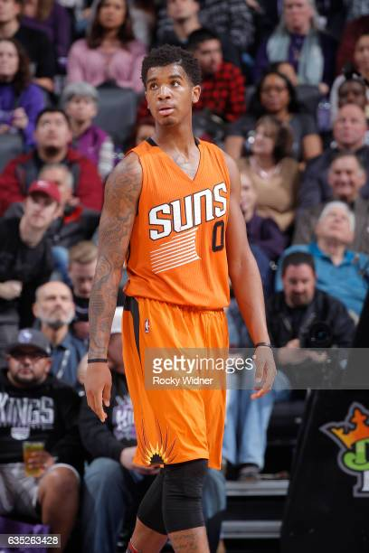 Marquese Chriss of the Phoenix Suns looks on during the game against the Sacramento Kings on February 3 2017 at Golden 1 Center in Sacramento...