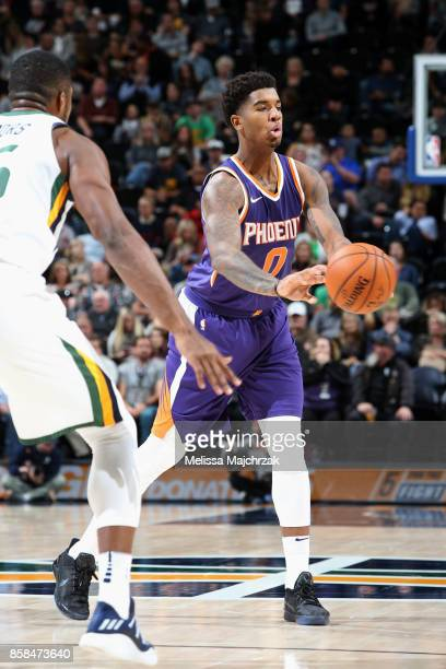 Marquese Chriss of the Phoenix Suns passes the ball against the Utah Jazz on October 6 2017 at vivintSmartHome Arena in Salt Lake City Utah NOTE TO...