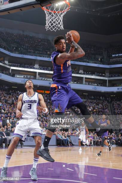 Marquese Chriss of the Phoenix Suns rebounds against the Sacramento Kings on April 11 2017 at Golden 1 Center in Sacramento California NOTE TO USER...