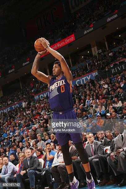 Marquese Chriss of the Phoenix Suns shoots the ball against the Oklahoma City Thunder during the game on December 17 2016 at Chesapeake Energy Arena...