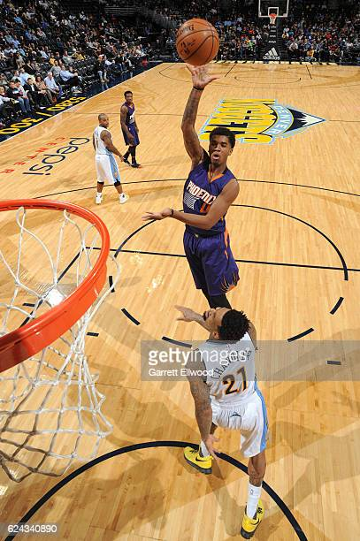 Marquese Chriss of the Phoenix Suns shoots the ball against the Denver Nuggets on November 16 2016 at the Pepsi Center in Denver Colorado NOTE TO...