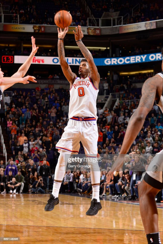 Marquese Chriss #0 of the Phoenix Suns shoots the ball against the San Antonio Spurs on December 9, 2017 at Talking Stick Resort Arena in Phoenix, Arizona.