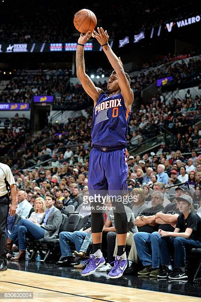 Marquese Chriss of the Phoenix Suns shoots the ball during the game against the San Antonio Spurs on December 28 2016 at the ATT Center in San...