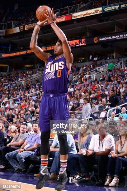 Marquese Chriss of the Phoenix Suns shoots the ball during the game against the Los Angeles Clippers on March 30 2017 at US Airways Center in Phoenix...