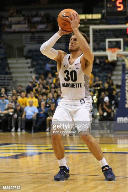 Marquette Golden Eagles guard Andrew Rowsey looks to shoot during a game between the Marquette Golden Eagles and the Chicago State Cougars at the BMO...