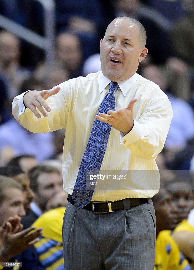 Marquette head coach Buzz Williams complains to a referee about a non-call in the first half against Georgetown at the Verizon Center in Washington, D.C., Monday, February 11, 2013.