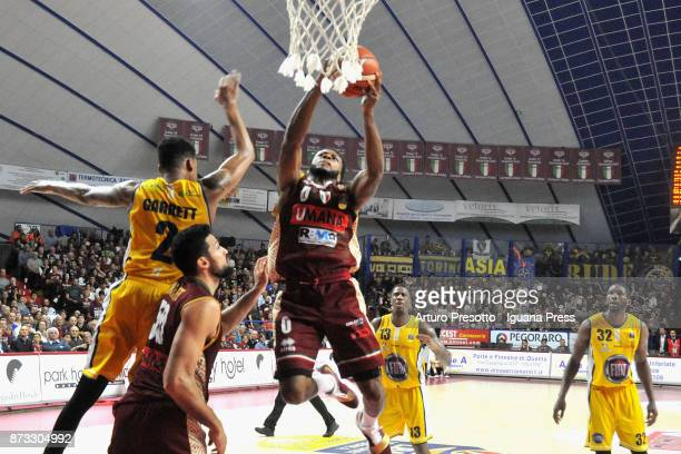 MarQuez Haynes and Mitchell Watt of Umana competes with Diante Maurice Garrett and Trevor Mbakwe and Lamar Patterson during the LBA LegaBasket of...