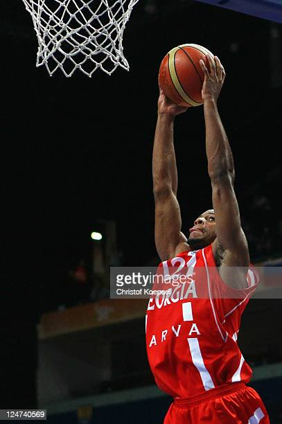 Marquez Haynes of Georgia dunks the ball during the EuroBasket 2011 second round group F match between Greece and Georgia at Siemens Arena on...