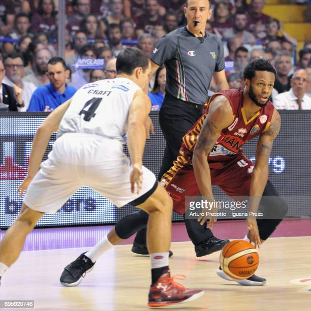 MarQuez Haynes of Umana competes with Aaron Craft of Dolomiti during the match game 2 of play off final series of LBA Legabasket of Serie A1 between...