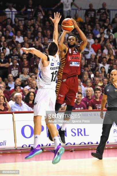 MarQuez Haynes of Umana competes with Diego Flaccadori of Dolomiti during the match game 2 of play off final series of LBA Legabasket of Serie A1...