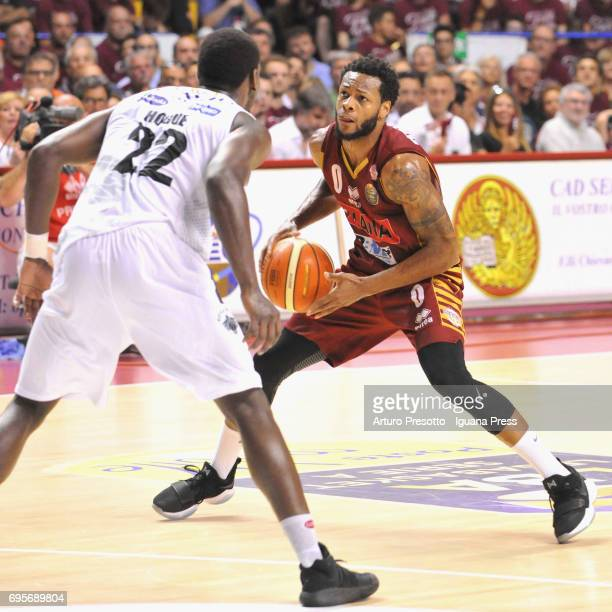 MarQuez Haynes of Umana competes with Dustin Hogue of Dolomiti during the match game 2 of play off final series of LBA Legabasket of Serie A1 between...