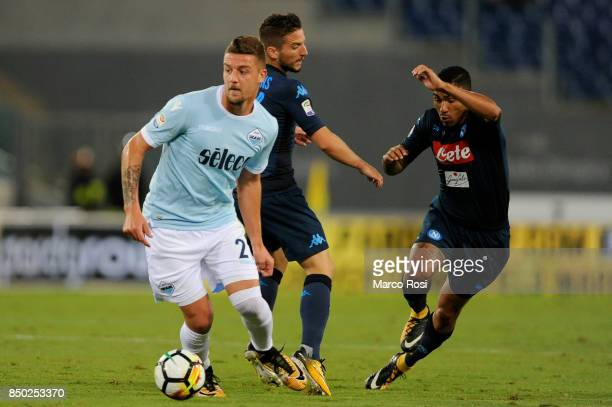 Marquez Loureiro Allan of SSC Napoli compete for the ball with Sergej Milinkovic Savic of SS Lazio during the Serie A match between SS Lazio and SSC...