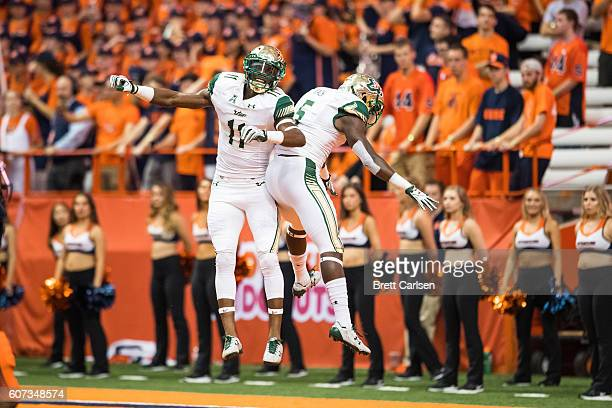 Marquez ValdesScantling congratulates Marlon Mack of the South Florida Bulls after a touchdown run in the second half against the Syracuse Orange on...