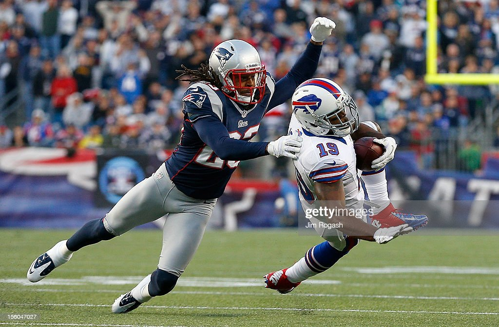 Marquice Cole #23 of the New England Patriots stops Donald Jones #19 of the Buffalo Bills, who was injured on the play, in the second half at Gillette Stadium on November 11, 2012 in Foxboro, Massachusetts.