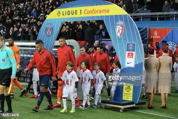 Marquinhos Alphonse Areola Marco Verratti and Angel Di Maria of Paris SaintGermain before the Ligue 1 match between Paris Saint Germain and Lille OSC...