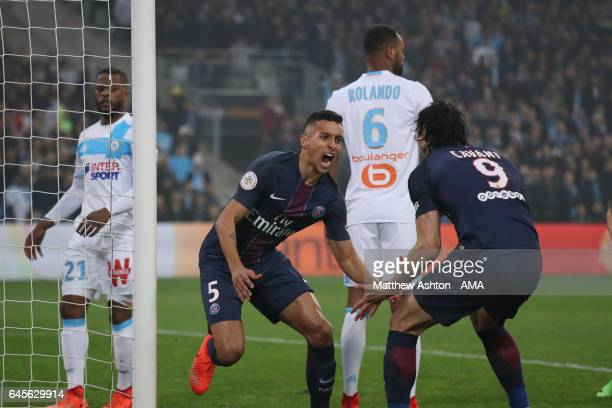 Marquinhos celebrates after scoring a goal to make it 01 during the French Ligue 1 match Marseille and Paris Saint Germain at Stade Velodrome on...