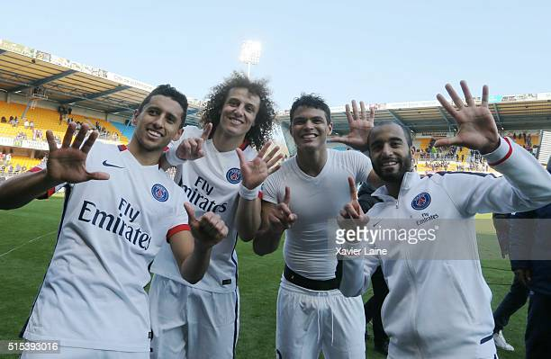 Marquinhos David Luiz Captain Thiago Silva and Lucas Moura of Paris SaintGermain celebrate the victory of championship after the French Ligue 1...