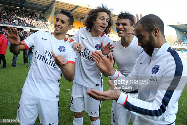 Marquinhos David Luiz Thiago Silva and Lucas Moura of PSG celebrate winning the French Ligue 1 championships 20151016 following the French Ligue 1...